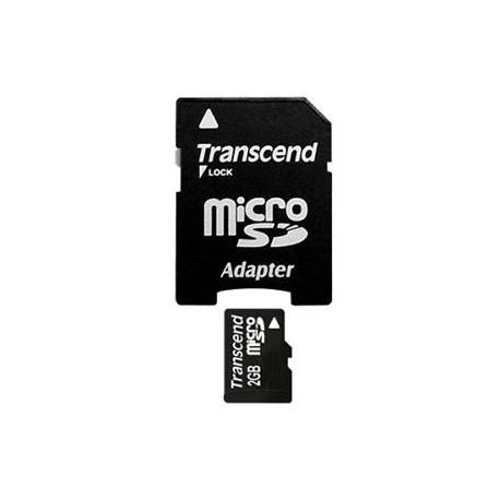 Transcend 2GB microSD memory card + adapter SD